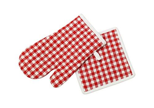Pannenlap en handschoen katoen VICHY rood