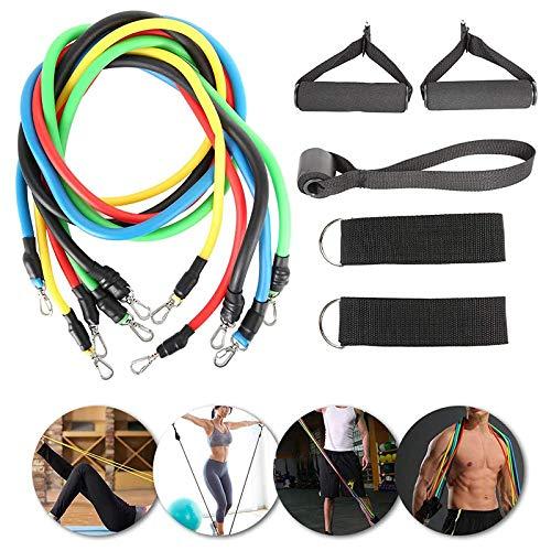 11pcs Conjuntos de bandas de resistencia de cuerda de tensión de entrenamiento Entrenamiento Yoga Gimnasio Pilates Equipo de entrenamiento deportivo Ejercicios de cuerda para el hogar