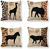VenusL Set of 4,African Animals,Giraffe,Elephant,Horse,Leopard with Zebra Pattern & Leopard Pattern Decorative Throw Pillow Covers,One-Side Printed,Cotton Linen,18x18 Inch(45x45cm)
