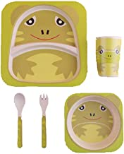 ZAD HOME Bamboo Fiber Plate, healthy Children Tableware Feeding, 5 Pieces Sets