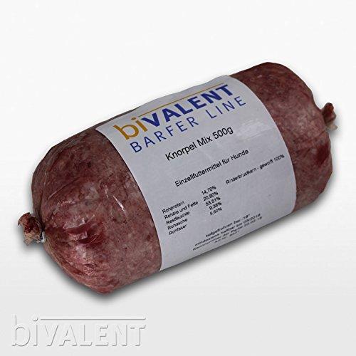 biVALENT Barfer Line Rind Knorpel Mix (Rinderbrustkern) gewolft 500g Barf   Rind   Frostfleisch   Hundefutter (1x500g)