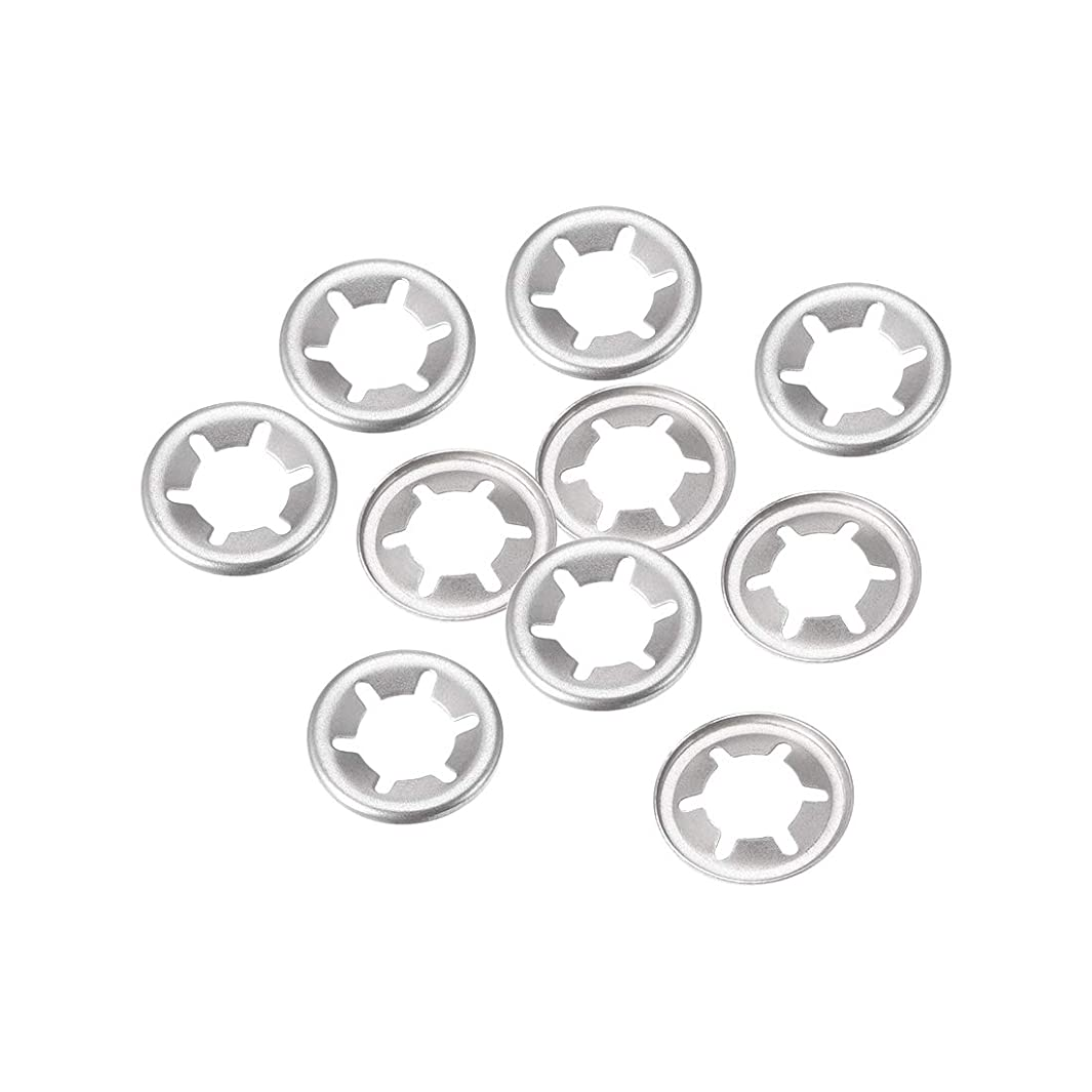 uxcell M6 Starlock Washer 5.1mm I.D. 15mm O.D. Internal Tooth Lock Washers Push On Locking Speed Clip, 304 Stainless Steel (Pack of 10)