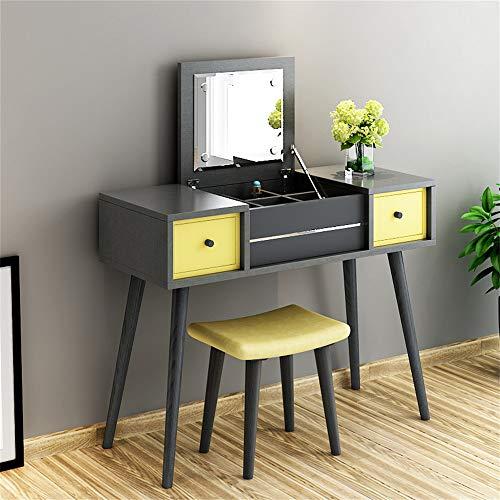 LLFFDC kaptafel met kruk en opvouwbare spiegel moderne massief hout make-up bureau voor make-up en kantoor