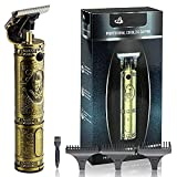 Cordless Hair Trimmer T-Blade Electric Zero Gapped Detail Barber Rechargeable Hair Clippers for Men Metal Body Baldheaded Haircut Clipper