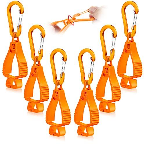 6 Pieces Glove Grabber Clip Holder Work Safety Clip Glove Keeper Glove Clamp Grabber Catcher for Belt Loop Guard Labor Worker Glasses Helmets Supply (Orange)