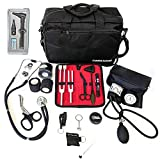 ASATechmed Nurse Starter Kit Stethoscope Blood Pressure Monitor and More - 18 Pieces Total (Black)