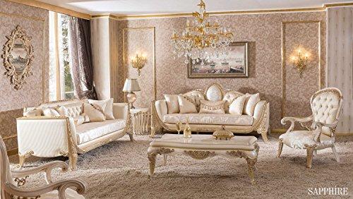 Set classique deluxe pour salon - SAPPHIRE LIGHT (1 table basse, 2 fauteuils, 1 canapé, 1 canapé chester). Les couleurs: Brun clair, Or, Ivoire