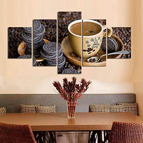 Lienzo Giclée de Pared Art Imagen para decoración del hogar Frijol de Taza de café Panel de 5 Piezas de Arte Moderno. Ideal para Decorar el salón