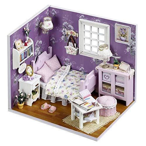 Hearthrousy DIY Puppenhaus Miniatur Haus Selber Bauen Zum Basteln Zubehör Holz Lernspielzeug Spielzeug Kinder 3D Süßes Lila Traumhaus mit Staubschutz LED Lichtern