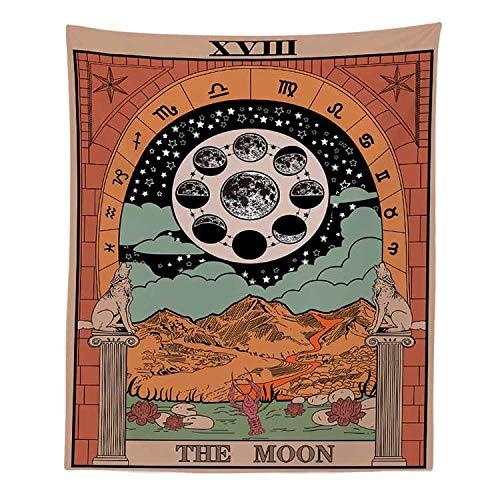 Tapiz de lobo diosa de la luna colgante de pared tarjeta de tarot tapiz de adivinación retro hippie manta de tela colgante A11 150x200 cm