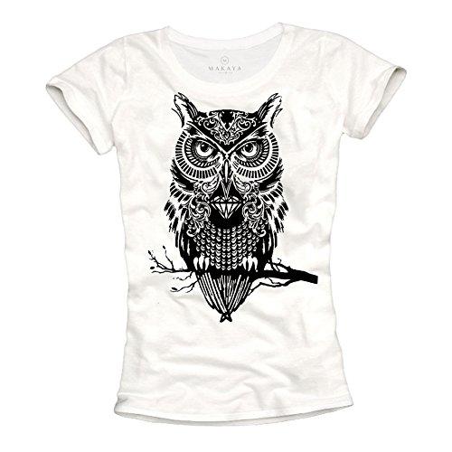 Camisetas chulas Mujer - Lechuza - Blancas L
