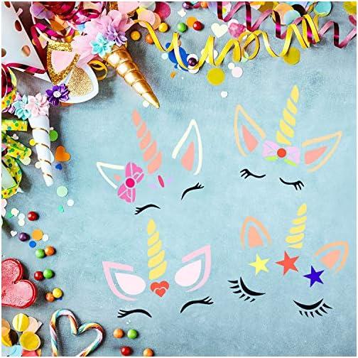 9 Pieces Unicorn Stencils Plastic Unicorn Painting Template Reusable Cute Art Craft Stencils for Walls Canvas Wood… |