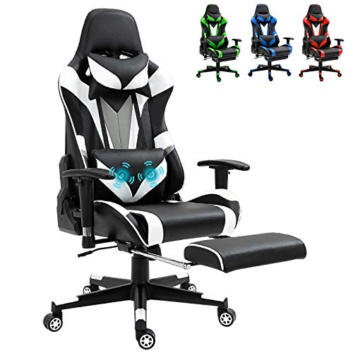 White Ergonomic Massage Gaming Chair Video PC Chair Racing Reclining Gaming Computer Chair with Footrest High Back Executive Office Desk...