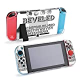 SUPNON Steel Beveled Outline Font and Digit Protective Case Compatible with Nintendo Switch Soft Slim Grip Cover Shell for Console & Joy-Con with Screen Protector, Thumb Grips Design19793