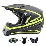 LIYANZWJ Casco integral con certificado DOT para motocross con lente HD y ventilación, cascos de moto para hombres y mujeres (guantes, gafas y máscara)
