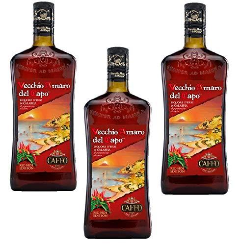 Sicilia Bedda - Vecchio Amaro del Capo RED HOT EDITION al peperoncino piccante calabrese - 3 Bottiglie da 700 Ml - Idea Regalo
