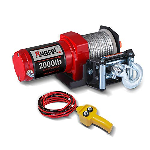 RUGCEL Electric 12V 2000lb/907kg Single Line Waterproof Winch