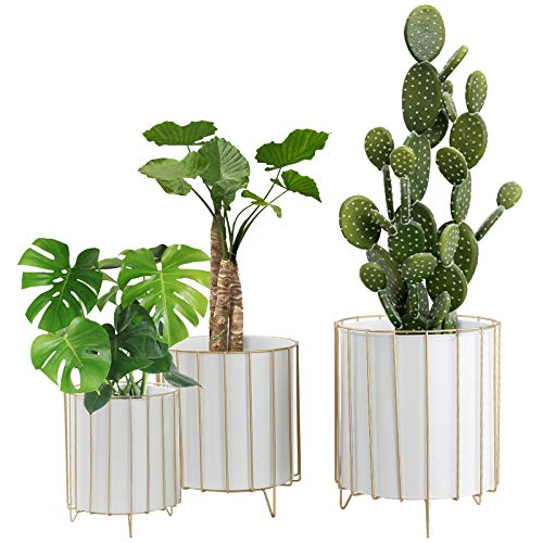 Large Metal Plant Stand Flower Pots Set of 3 for Planters, Modern Garden Planter Holders Indoor Stand with Pots, Outdoor White Iron Flower Pots with Golden Wire Frame for Home Decorate(White)