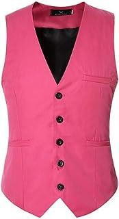 MU2M Men Classic Fit Button Down Wedding Skinny Dress Vest Waistcoat