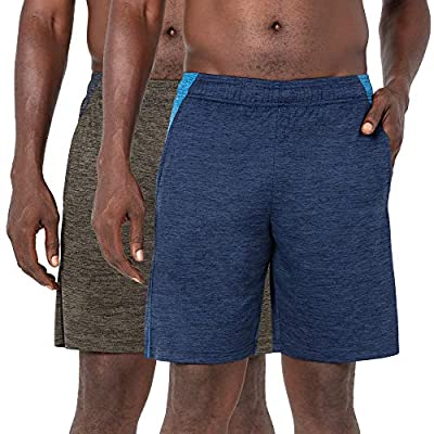 Layer 8 Men's Short Quickdry Athletic 10 Inch Inseam Extra Mile Short with Two Side Pockets (Medium, Navy/Olive 2 Pack)