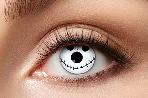 Zoelibat Farbige Kontaktlinsen für 12 Monate, Weißes Gesicht, 2 Stück, BC 8.6 mm / DIA 14.5 mm, Jahreslinsen in Markenqualität für Halloween, Fasching, Karneval, weiß/schwarz