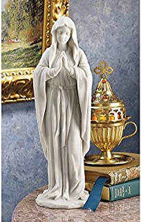 Design Toscano Blessed Virgin Mary Statue, Small 12 Inch Figurine, Bonded Marble Polyresin, White