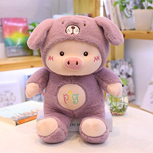 30-60cm Precioso Cerdo de Peluche de Juguete Creativo Gato, Oso y Perro, muñeco de Peluche Suave, Juguete para niños, bebé, Kawaii, Regalo de cumpleaños, 45 cm, púrpura
