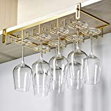 Hanging Wine Glass Holder, Adjustable Wine Glass Rack, No Drilling Required, Stainless Steel Insert Glass Holder, for Bar Counter, Cabinet, Gold