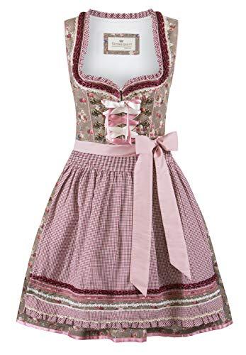 Stockerpoint Damen Dirndl Talita Kleid für besondere Anlässe, nuss-Bordeaux, 34