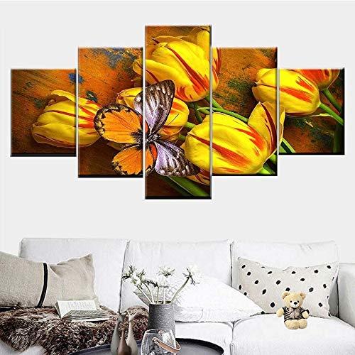 KWzEQ Estilo nórdico decoración del hogar Lienzo Arte de la Pared Pintura 5 Tulipanes Amarillos y Pinturas de Mariposas,Pintura sin Marco,20x35cmx2, 20x45cmx2, 20x55cmx1