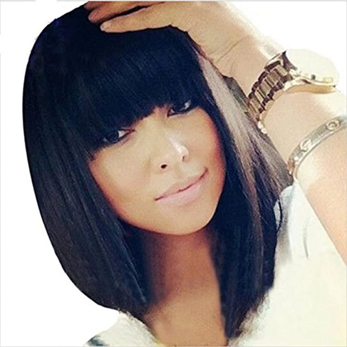Ten Chopstics Short Bob Human Hair Full Lace Wig Full Bangs Glueless Short Brazilian Straight Human Hair Wig with Baby Hair for Black Woman 130 Density Lace front Bob Wigs