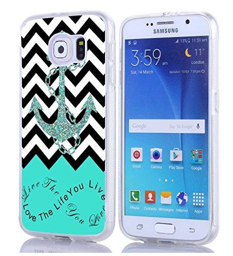 S6 Case, Samsung Galaxy S6 Case chevron anchor live the life you love quotes christian quotes