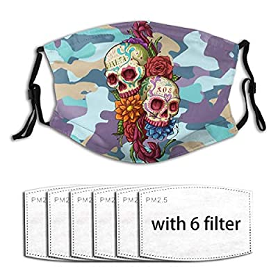 Sugar Skull Reusable Activated Carbon Filter Face Shield With 6 Filter Replaceable for Men Women