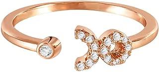 BPOF99_Rings Zodiac Rings for Women,Rose Gold Adjustable One Size Diamonds Teen Girls Under 5 Dollars Creative