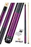 Valhalla by Viking 2 Piece Pool Cue Stick Irish Linen Wrap 16-21 oz. PLUS Rosin Bag (Purple VA117, 19 oz.)