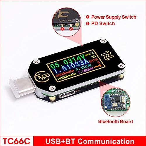 Persondewx USB-Tester, 0,96-Zoll-Farb-IPS-Anzeige Typ C Voltmeter Amperemeter Spannungsmesser Multimeter USB-Ladegerät Akku-Tester