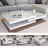 Deuba Table Basse de Salon Blanc Moderne carré 60x60cm laquée Brillante rotative à 360° Charge Max. 20 kg Design innovant...