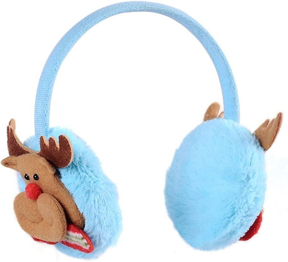 Lnrueg Winter Earmuff Cute Cartoon 4PCS Plush Fluffy Ear Muff Ear Warmer for Christmas Festive Santa Claus Snowman