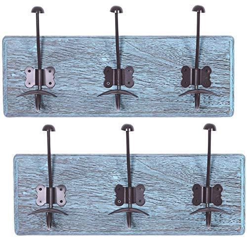 Rustiek wandmontage kapstok met 3 stevige haken - Set van 2 - Vintage Entryway Houten kapstokjes - Rustiek rek voor jassen, tassen, handdoeken en meer - 88,9 x 15,5 cm Gemaakt van hout - Rustiek Blauw