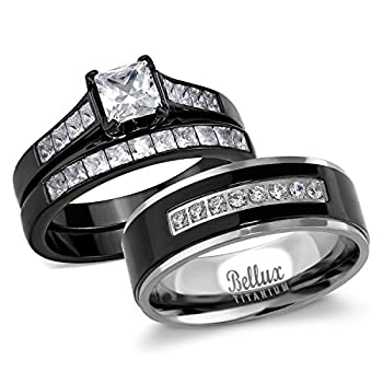 Bellux Style His and Hers Wedding Ring Sets Couples Black Stainless Steel CZ Bridal Sets  Women s Size 08 & Men s Size 13