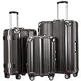 Coolife Luggage Aluminium Frame Suitcase 3 Piece Set with TSA Lock 100% PC (BLACK)