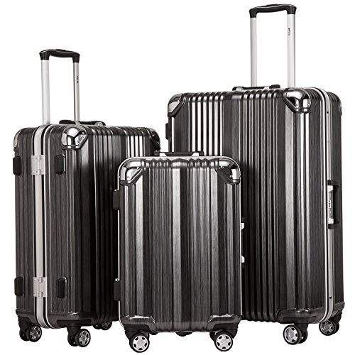 Coolife Luggage Aluminium Frame Suitcase 3 Piece Set with TSA Lock 100% PC (BLACK)