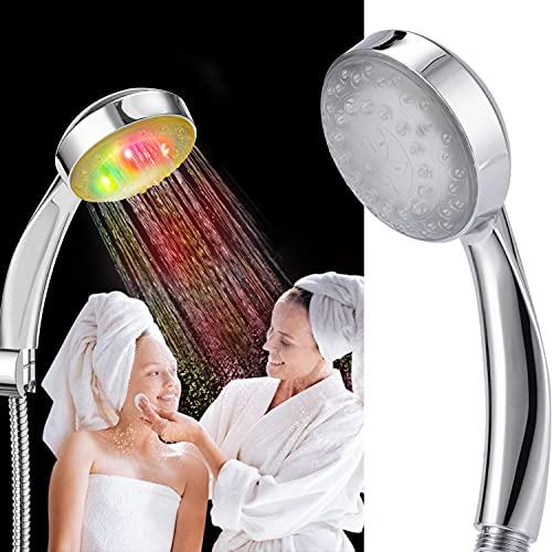 ZYGODLUK Soffione Doccia a Led Multifunzionale ad Alta Pressione Funzione Cambiacolore a 7 Velocità RGB e Flusso Arcobaleno, Doccetta Colore Universale d'acqua per Farsi il Bagno, Shampoo, Animale