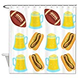 No branded Decor Bath Shower Curtain Beer Football Brat Bath Fantastic Decorations Waterproof...
