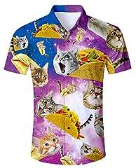 Verano Hombres impresión Camisa Hawaiana y Conjuntos de Pantalones Cortos Camisetas de Manga Corta