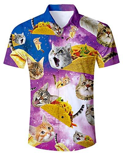 RAISEVERN Hombres Tailandia Hawaii - Camisas de Manga Corta Fancy Pizza Cats Pattern Beach Shorts Camisas Casul Camisetas Púrpura