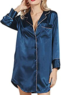 Jojckmen Shirt Satin Silk Sleepshirts Women Girl Long Sleeve Button Nightgowns Pajama