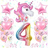 Unicornio Decoración de Cumpleaños 4 Años, Globo de Unicornio 3D con Pancarta de Cumpleaños Numero 4 Cumpleaños Globos Latex Globos para decoracion de Fiesta de Cumpleaños Niña