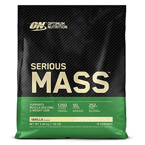 Optimum Nutrition ON Serious Mass Hochkalorisches Weight Gainer Protein Pulver mit Kohlenhydrate, Whey Protein, Vitaminen, Kreatin und Glutamin, Vanilla, 16 Portionen, 5,45kg