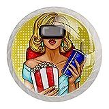 Paquete de 4 tiradores de cristal para cajones y pomos para el hogar, oficina, dormitorio, sala de estar, baño con tornillos, mujer con gafas de realidad virtual